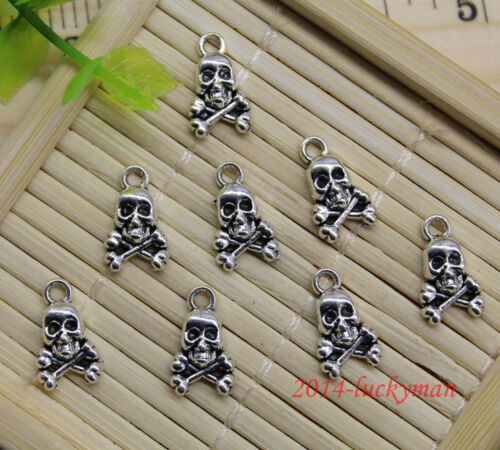 Lot 40//100//300pcs Retro style DIY Ghost skull alloy Charms pendants 13x8mm