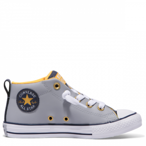 9b00674803ae Details about Converse All Star Street Leather Gray White For Kids No Laces  Slip On New In Box