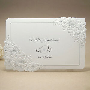 Image Is Loading Elegant Wedding Invitations White Embossed Flower Silver Foil