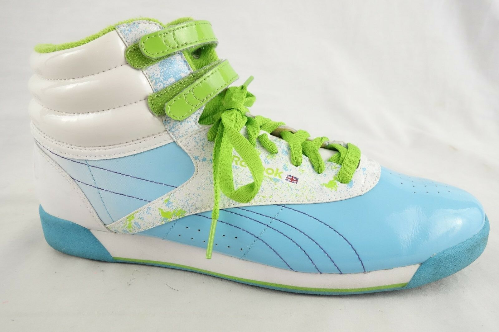 Reebok Womens shoes bluee White Green Patent Hightops Tennis Size 10.5