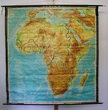 Schulwandkarte Wandkarte Afrika Africa Karte physisch physical map 187x195 ~1965