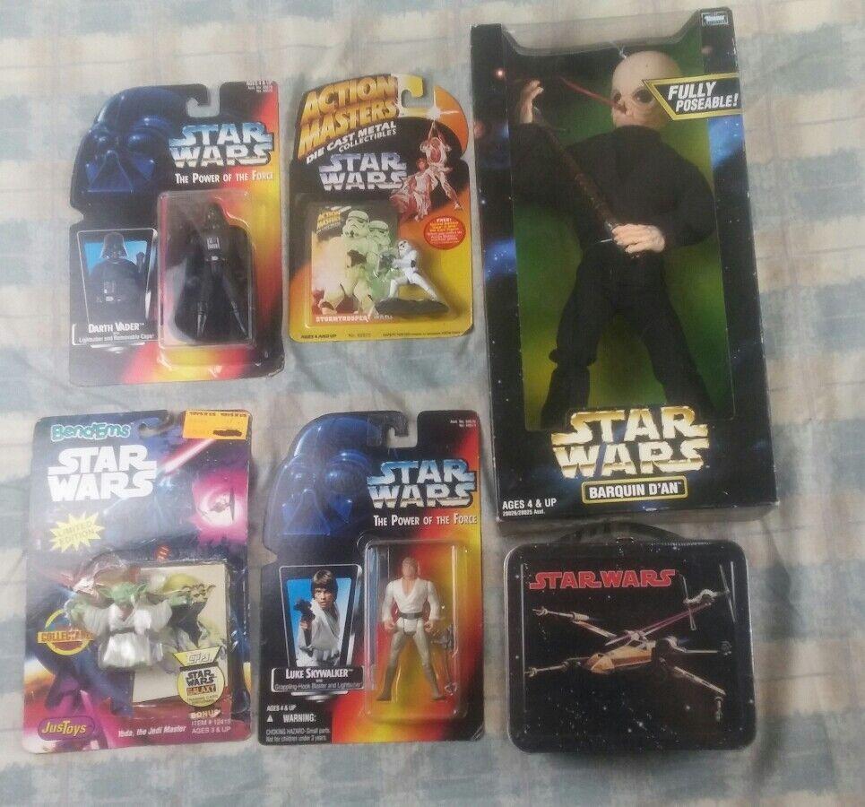Star wars vader luke yoda stormtrooper x-wing barquin dan lot of 6 action figure