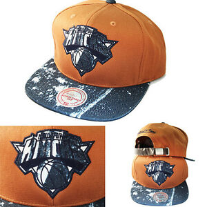 9fd08f67aea02 Mitchell   Ness NBA New York Knicks Mustard Strapback Hat Stained ...