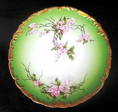 """ANTIQUE T&V LIMOGES FRANCE 9.5"""" PLATE HAND PAINTED CHERRY BLOSSOMS 1907"""