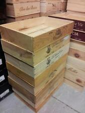 FLAT HALF SIZE GENUINE FRENCH WOODEN WINE CRATE BOX - HAMPER STORAGE PLANTER '
