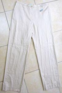 GERARD-DAREL-Pantalon-beiges-avec-fines-rayures-verticales-Taille-42-FR-Neuf