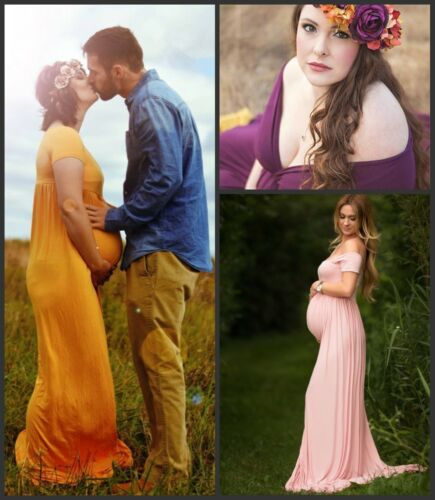 Stretch cotton Maternity Gown Pregnant Women Long Maxi Dress Photography Props