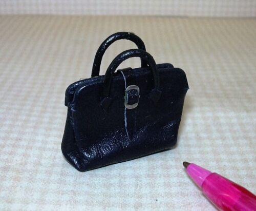 "Opens! Miniature /""Prestige Leather/""  Black Leather Dr./'s Bag DOLLHOUSE 1:12"