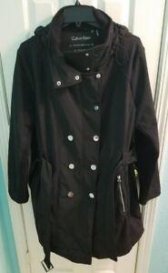 noir Calvin avec Taille 100 laine ceinture long Superbe 1x Manteau Klein IwSqrSt