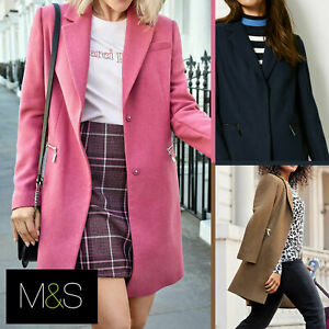 M-amp-S-Wool-Blend-Single-Breasted-Pink-Brown-Winter-Coat-Holly-Willoughby-Size-6-24