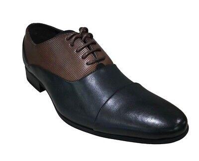 Tayno BELLAMY Men/'s Oxfords Cap Toe Brown//Black Dress Shoes
