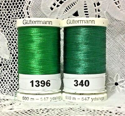 2 New Green Gutermann 100 Polyester Embroidery Thread 547 Yards