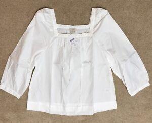 d48383fa31b J Crew Factory Womens Peasant Top Blouse S Small White G7059 Shirt ...