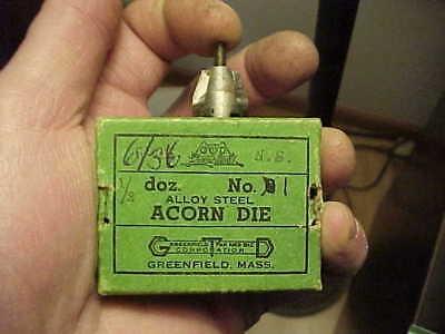 NOS Greenfield 1-72 NF Acorn Die No.1 USA Watchmaker Gunsmith Hobbyist
