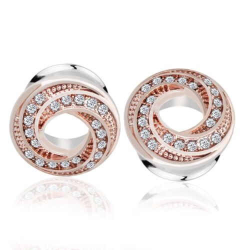 1 pares 6-16mm Plug túnel Rose oro cristal de plata de acero inoxidable