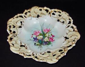 Antique C T Altwasser Carl Teisch 7384 Pierced Reticulated Hand Painted Bowl