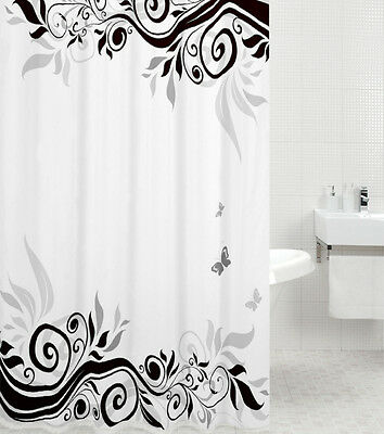 HIGH QUALITY POLYESTER SHOWER CURTAIN | ANTI MOULD | 12 RINGS |BEAUTIFUL DESIGNS