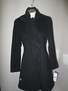 DKNY Ruffle Front A-Line Wool Cashmere Coat 8P Black 100