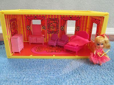 Rare Vintage Liddle Kiddle Goodnight Playhouse Doll Bedroom Room Little Set Pink