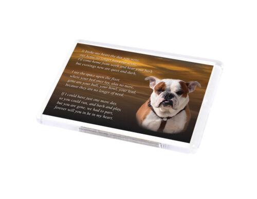 BRITISH BULLDOG Dog Fridge Magnet Pet Animal loss Bereavement Memorial Gift