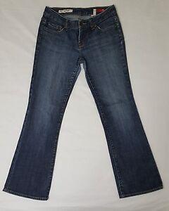 X2-Express-Women-s-Dark-Wash-Slim-Low-Rise-Boot-Cut-Jeans-Size-4-Short