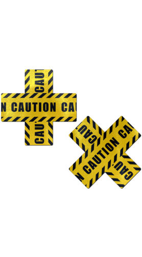 One Size Fits Most Womens Crossed Caution Tape Pasties