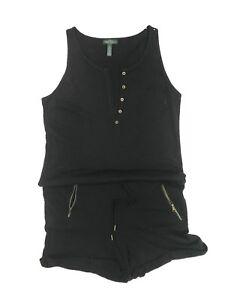 Ralph-Lauren-Womens-Black-romper-jumpsuit-drawstring-Waist-zipped-pockets-Large