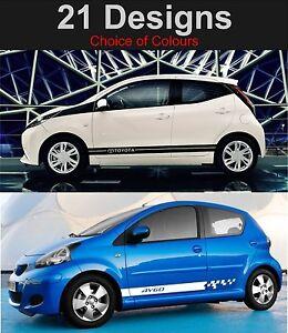 Toyota-Aygo-Seitenstreifen-Aufkleber-Sticker-Grafiken-Auswahl-Design