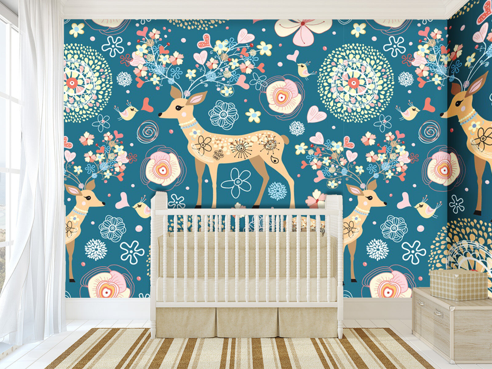 3D Lovely deer, pattern 6688 Wall Paper Print Wall Decal Deco Indoor Wall Murals