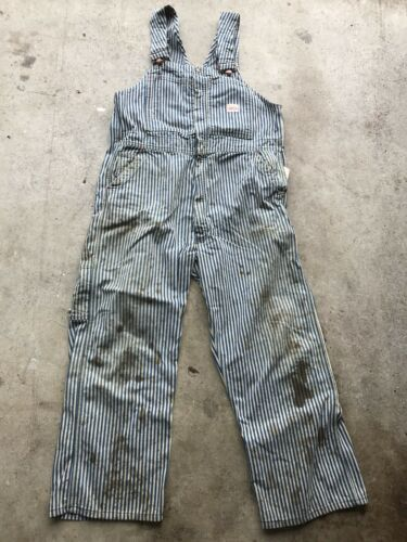 VTG Pay Day JCPenny Hickory Overalls Striped USA S