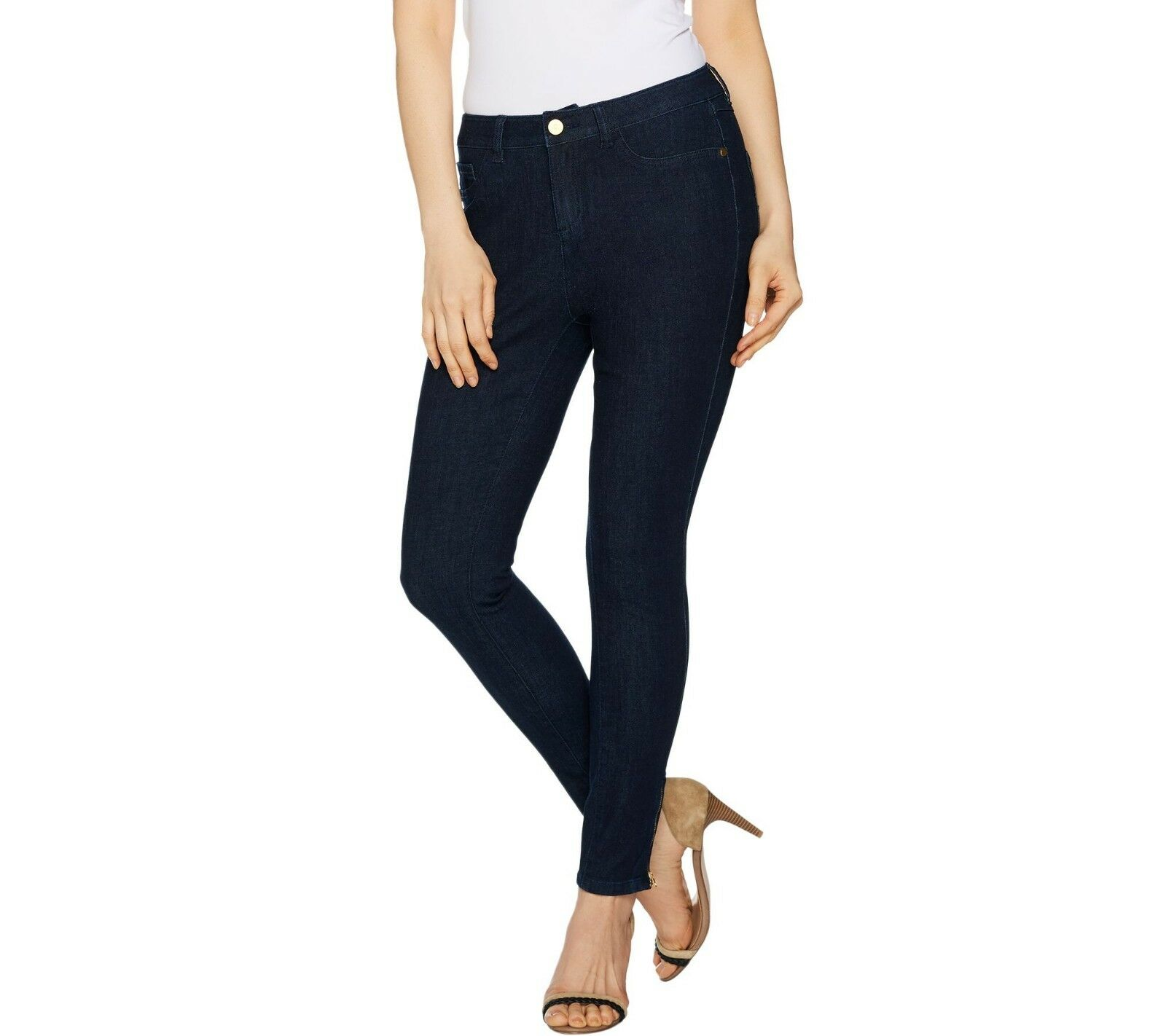 G.I.L.I. Women's Ankle Length Zip Jeans Pull-on Pants Dark Rinse 18W Size QVC