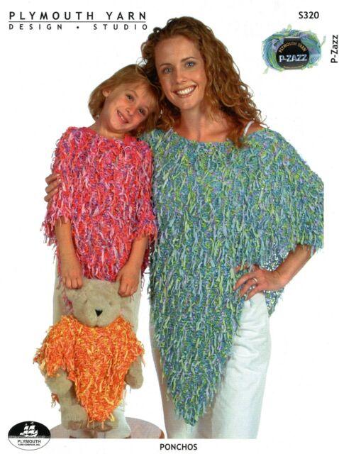 Plymouth Knitting Pattern S320 Ponchos For Women Kids Teddy Bear