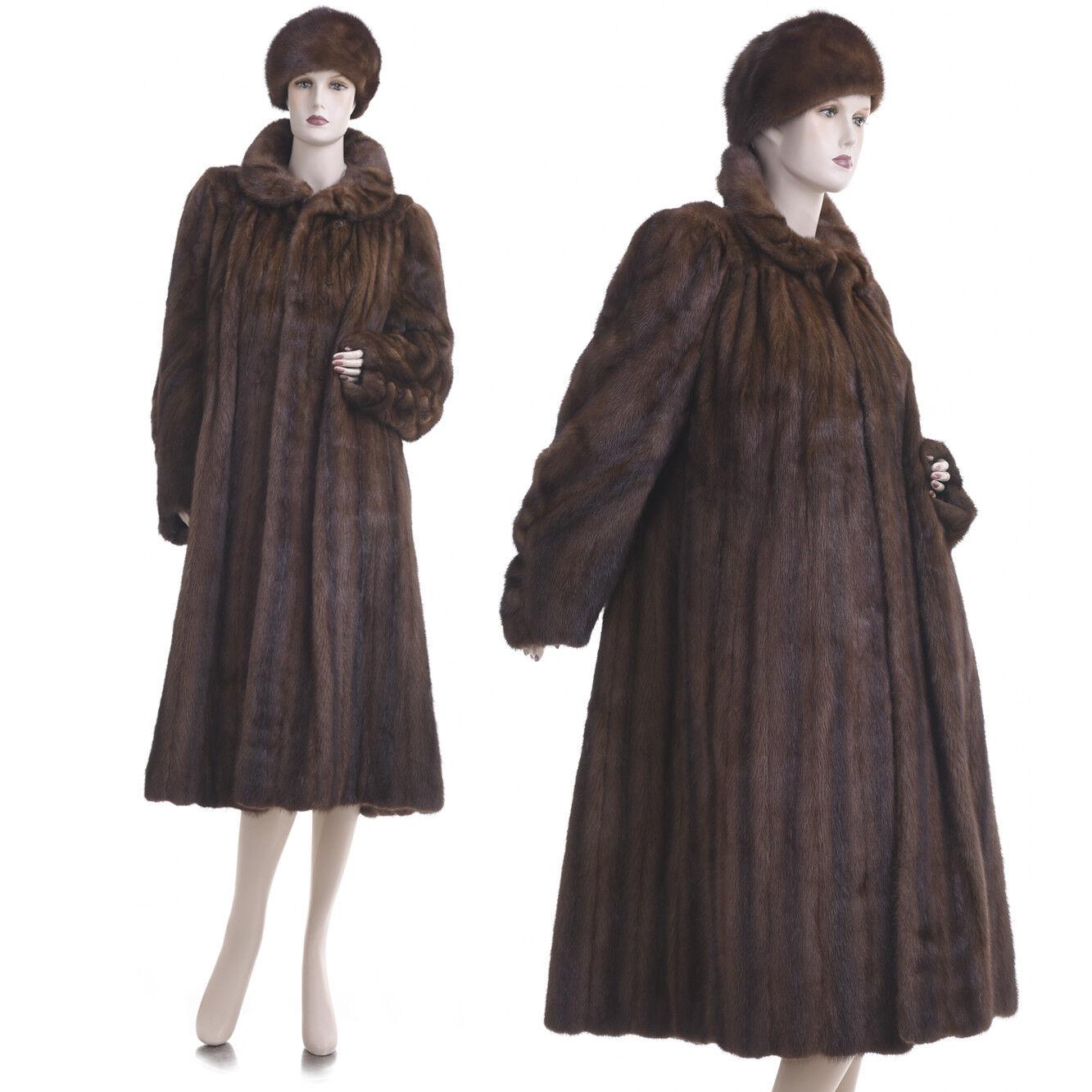 Mint  L  Couture Chocolate Brown Female Female Female Mink Fur Pleated Swing Coat w Free Hat 160b67
