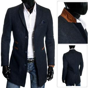 Para-hombre-elegante-invierno-abrigo-collar-de-gamuza-largo-3-4-de-Lana-de-Cachemira-Abrigo-de-otono