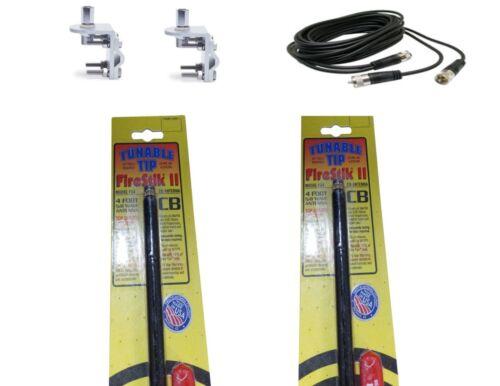 12FT DUAL COAX BRACKETS /& STUDS NEW 2 FIRESTIK 2 FS4 B 4FT BLACK CB ANTENNAS