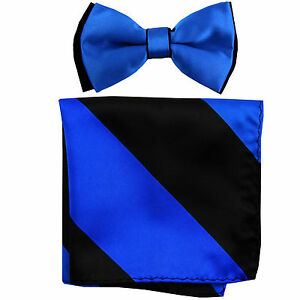 New Men's Two Tones Pre-tied Bow Tie & Hankie Set ROYAL BLUE Black