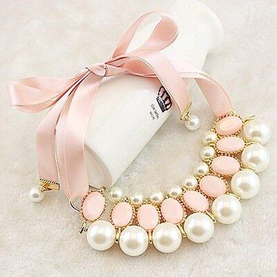 Women New Fashion Luxury Sweet Pearl Ribbon Bib Choker Statement Collar Necklace