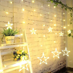 Details about Star Shaped Led Lights String Curtain Window Bedroom Xmas  Fairy Lamp Home Decor