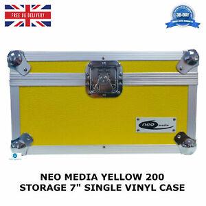 1-X-NEO-Yellow-Aluminium-DJ-Storage-Carry-Case-Hold-200-Vinyl-7-034-Single-Records
