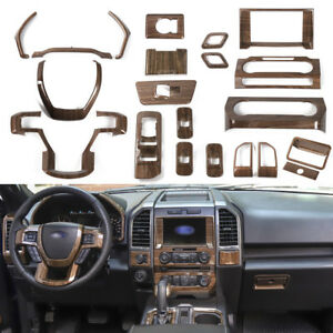 2017 Ford F 150 Interior >> Details About Full Set Wood Grain Upgrade Interior Trims For Ford F150 2015 2017 Super Duty