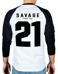 5dea1a9b74e7 21 Savage Slaughter Gang Two Tone Baseball T-Shirt Savage Mode Red ...