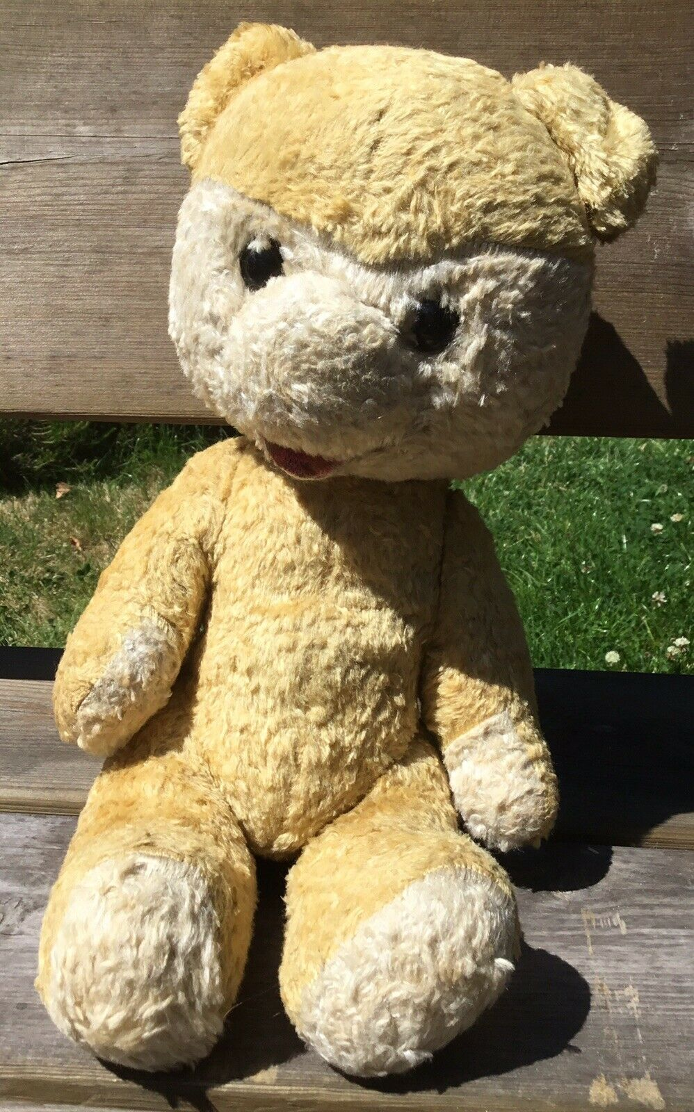 Old Vintage Unusual 1950s Straw Filled Jointed Playworn Teddy Bear 17""