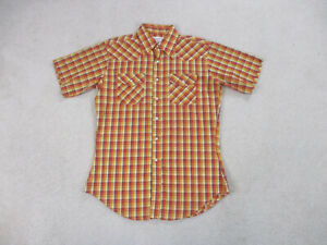 Wrangler Shirt Adult Large Yellow Red Pearl Snap Western Rodeo Cowboy Mens *