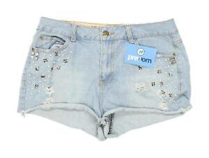 Womens-Denim-Co-Blue-Jewelled-Denim-Shorts-Size-12-L1