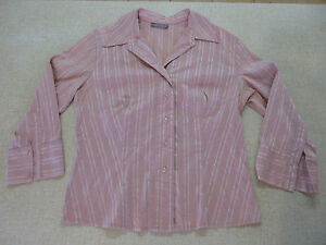Women-039-s-JACQUI-E-Size-12-AU-Long-Sleeve-Shirt-Pink-Near-New-Striped-Ladies