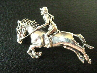 "Fine Pins & Brooches Fine Jewelry Fine Solid Silver 5.7g Show Jumping Equestrian Horse & Rider Brooch Pin 1.5"" Boxed High Standard In Quality And Hygiene"