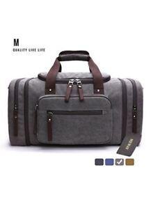748478e4ef Image is loading MEWAY-Canvas-Duffle-Bag-Travel-Luggage-Weekender-Leather-