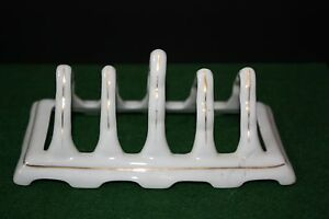 Vintage White Porcelain Toast Rack Made in Czechoslovakia Gold Trim