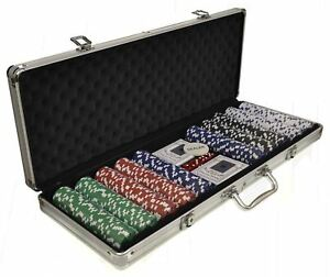 Details about New 500 Vegas Sets Poker Chips Card Casino Games Carry Case