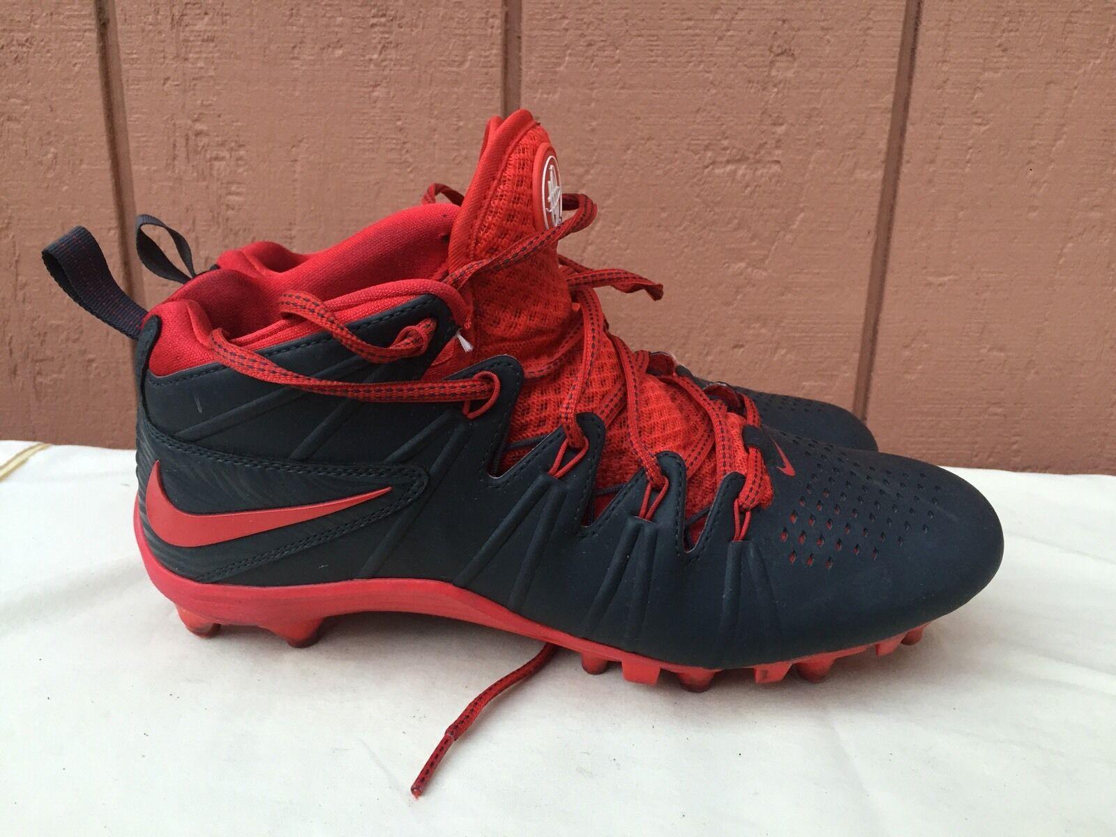 EUC Mens Nike Huarache Black Red Cleats Sport Shoes US 8